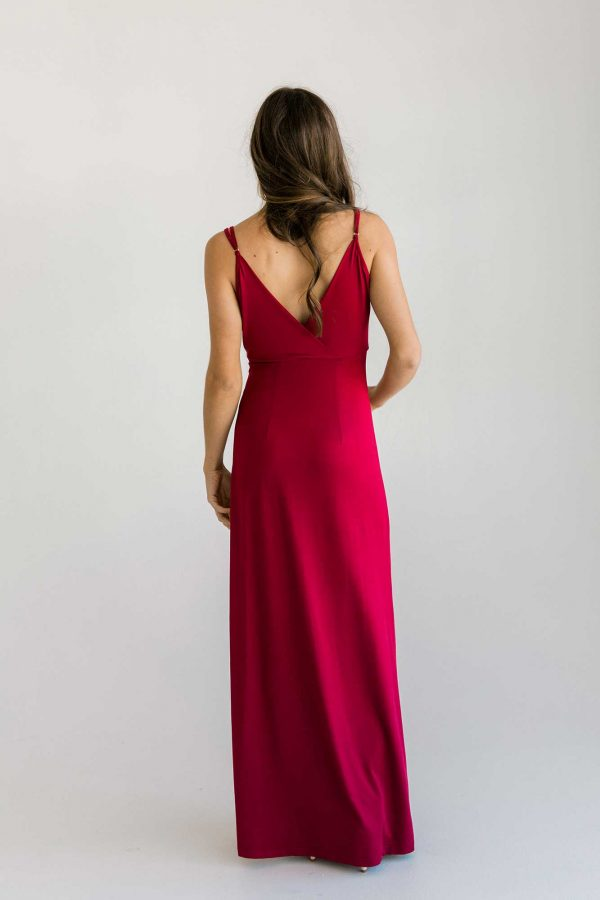 Fraser maxi dress in claret colour back view