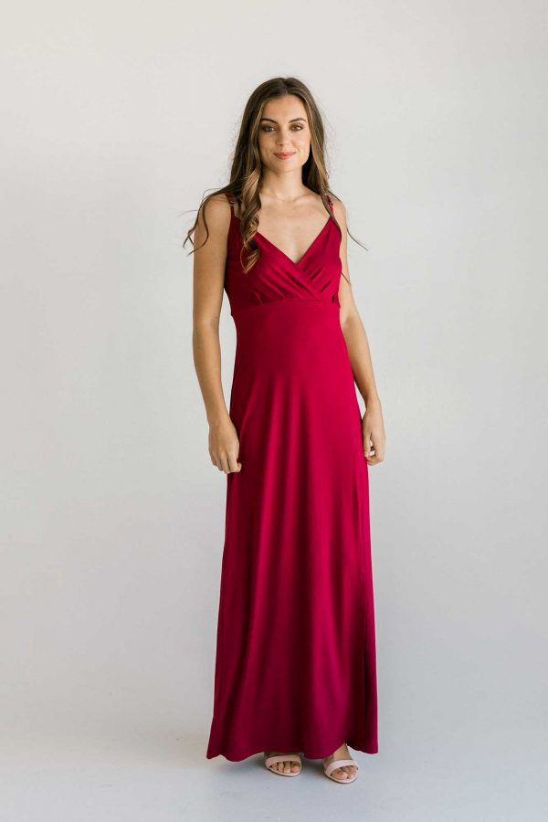 Fraser maxi dress in claret colour front view