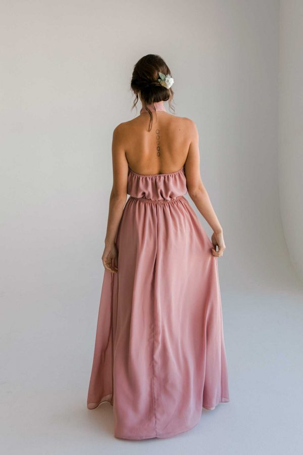 Gina maxi dress in dusty pink colour back view
