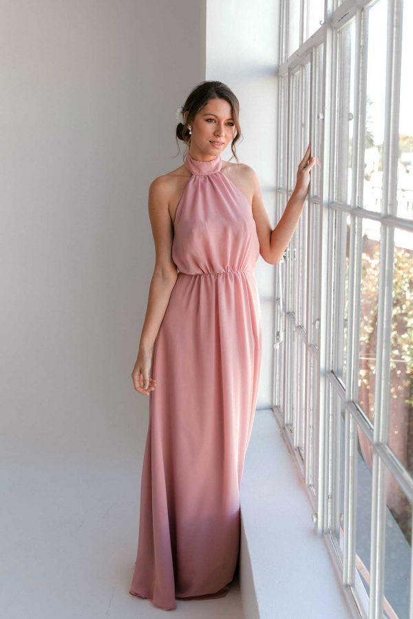 Gina maxi dress in dusty pink colour front view