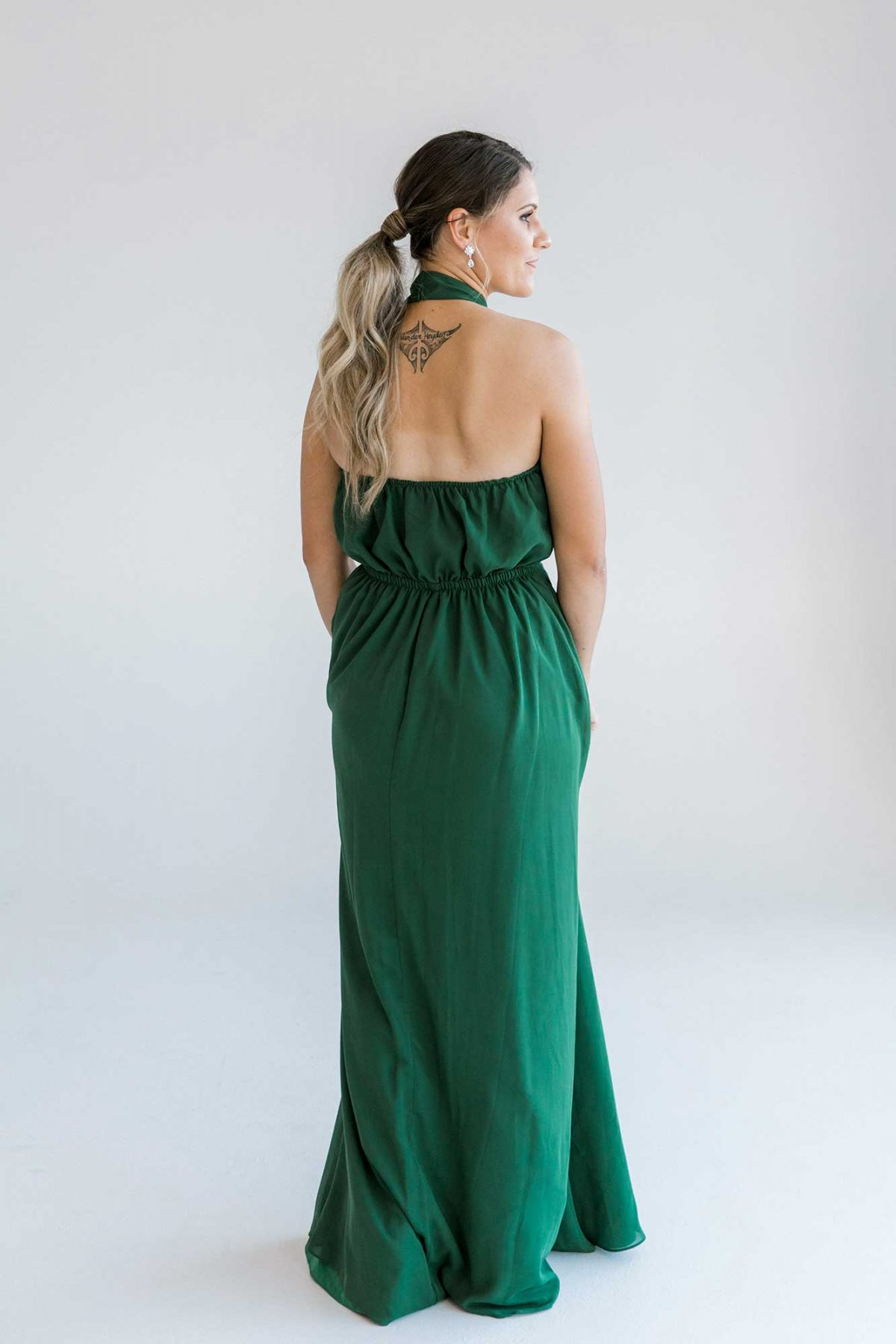 Gina maxi dress in emerald colour back view