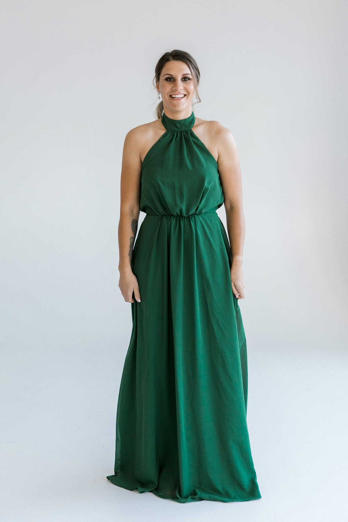 Gina maxi dress in emerald colour front view