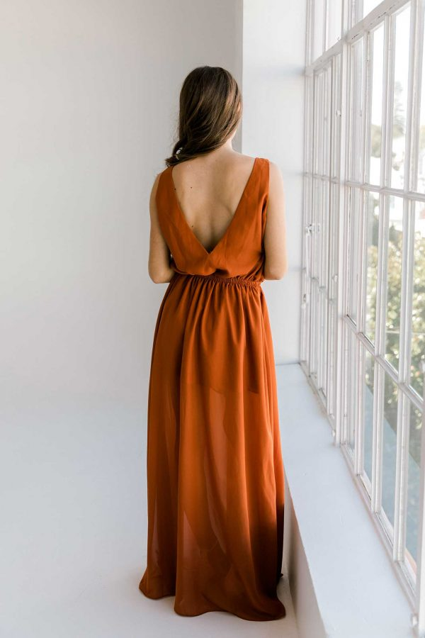 Lola maxi dress in burnt orange colour back view