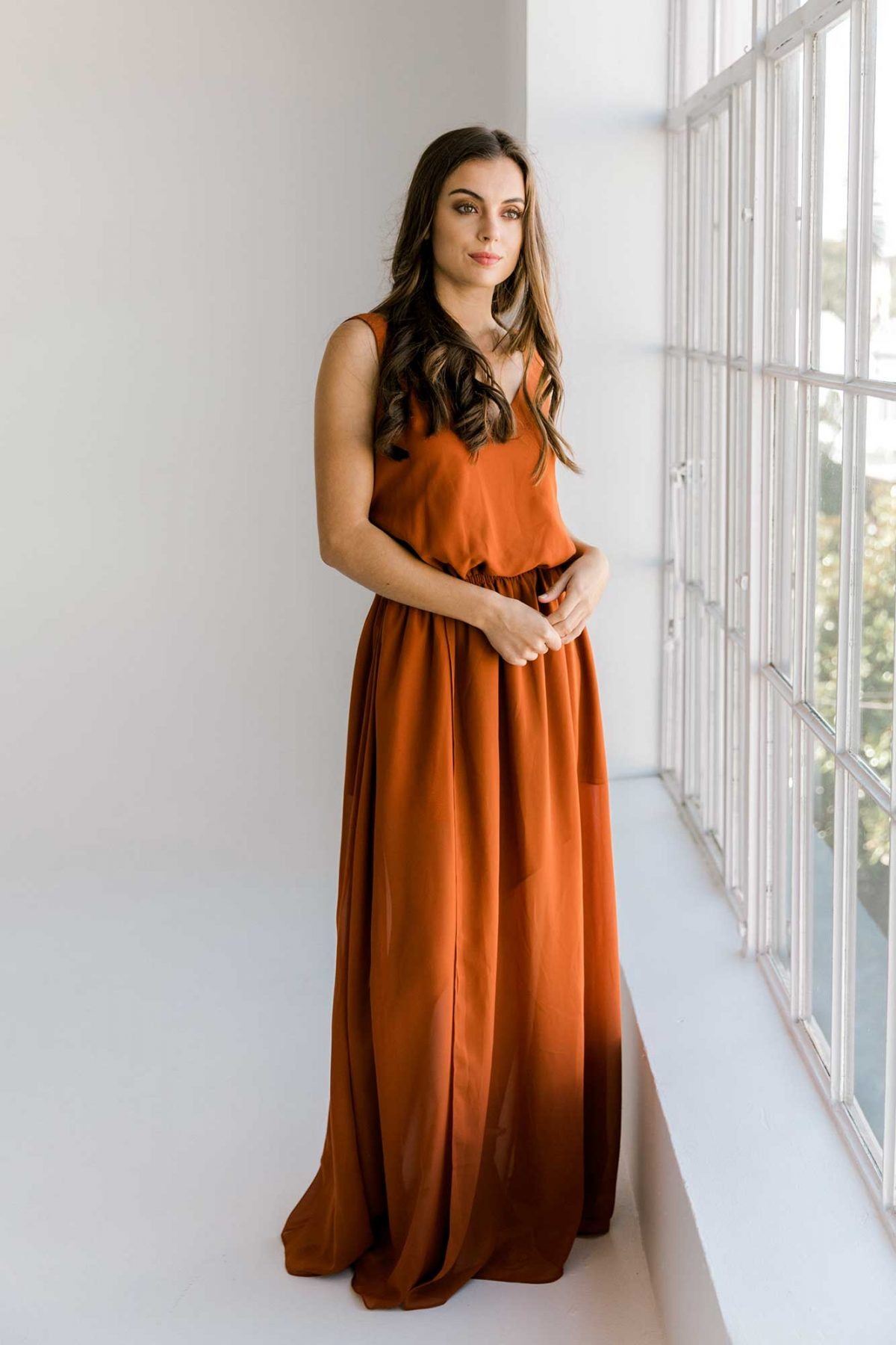 Lola maxi dress in burnt orange colour front view