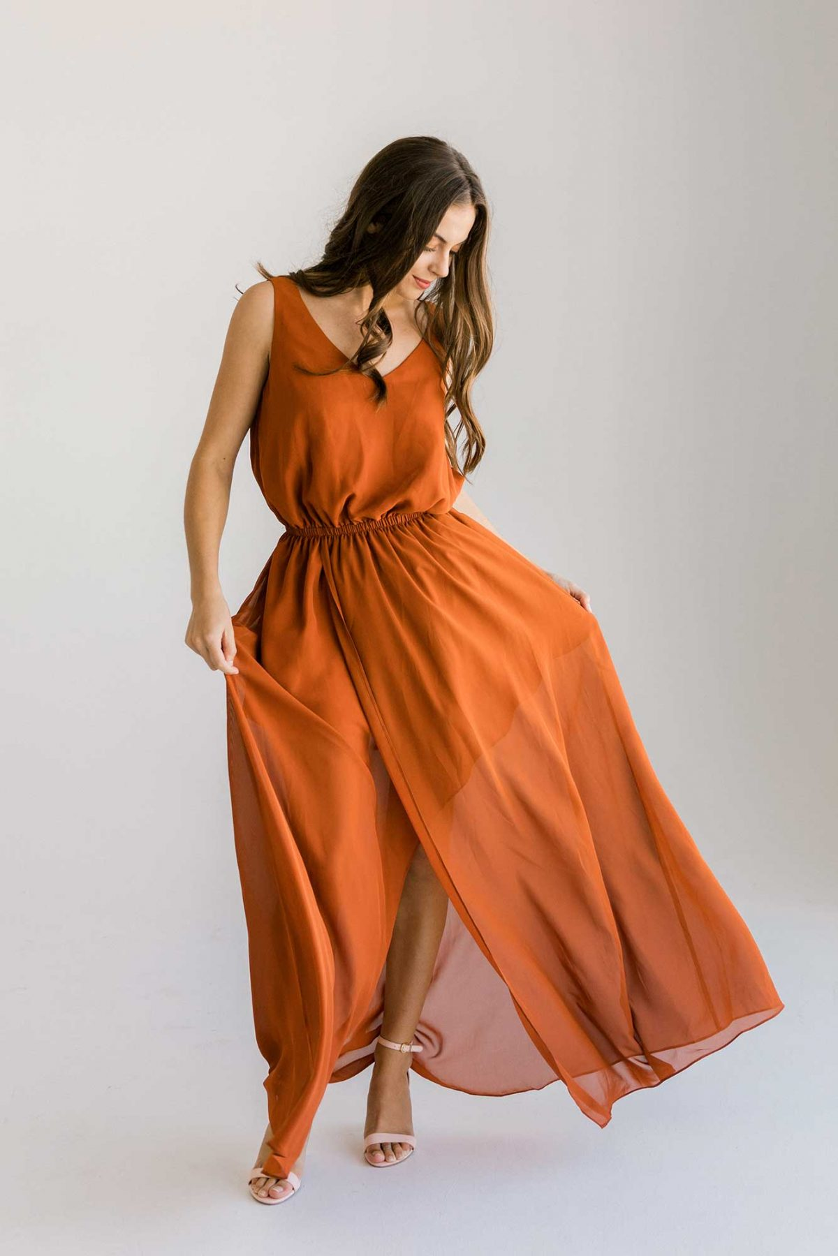 Lola dress in burnt orange colour front view