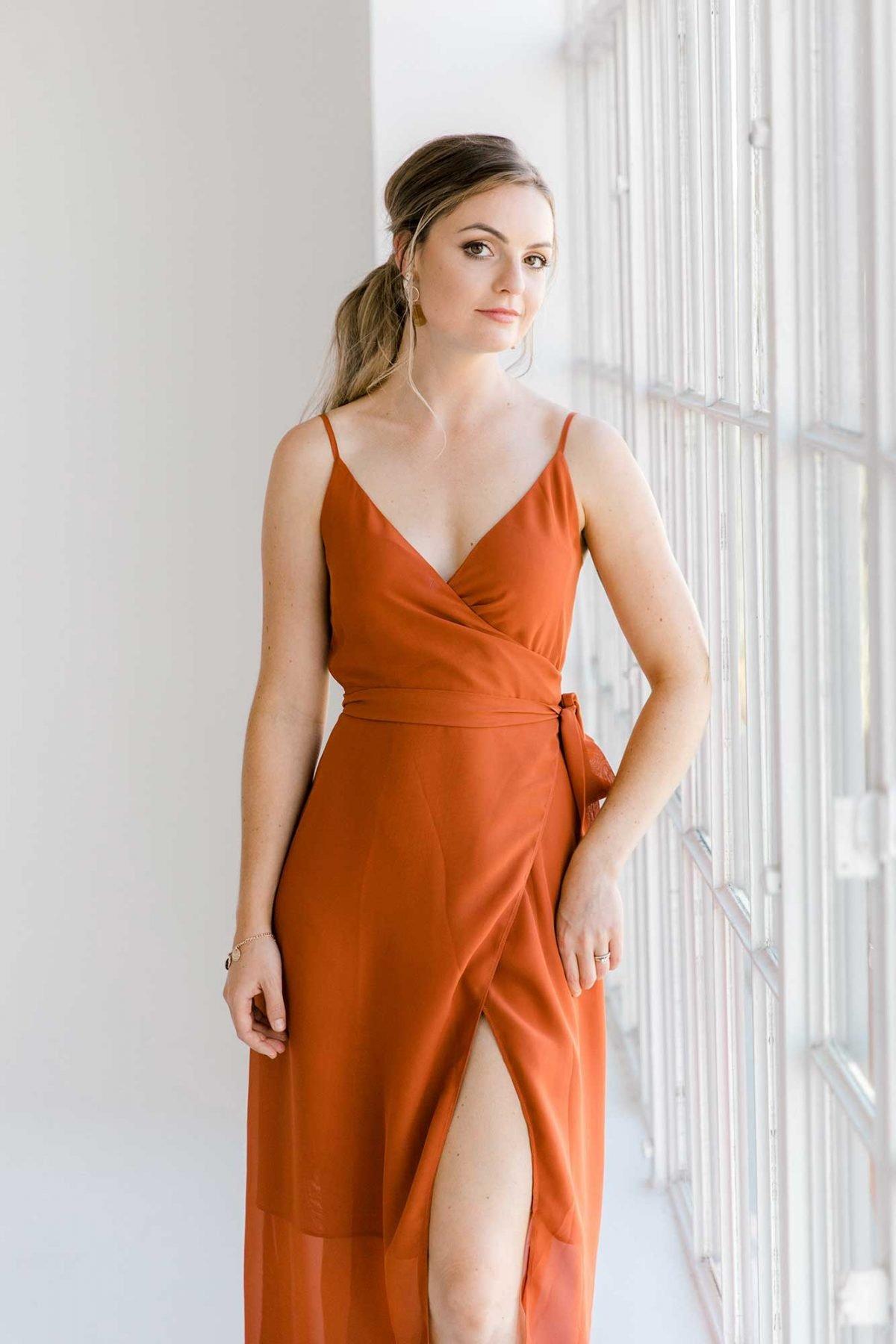 Lucinda dress in burnt orange colour front view