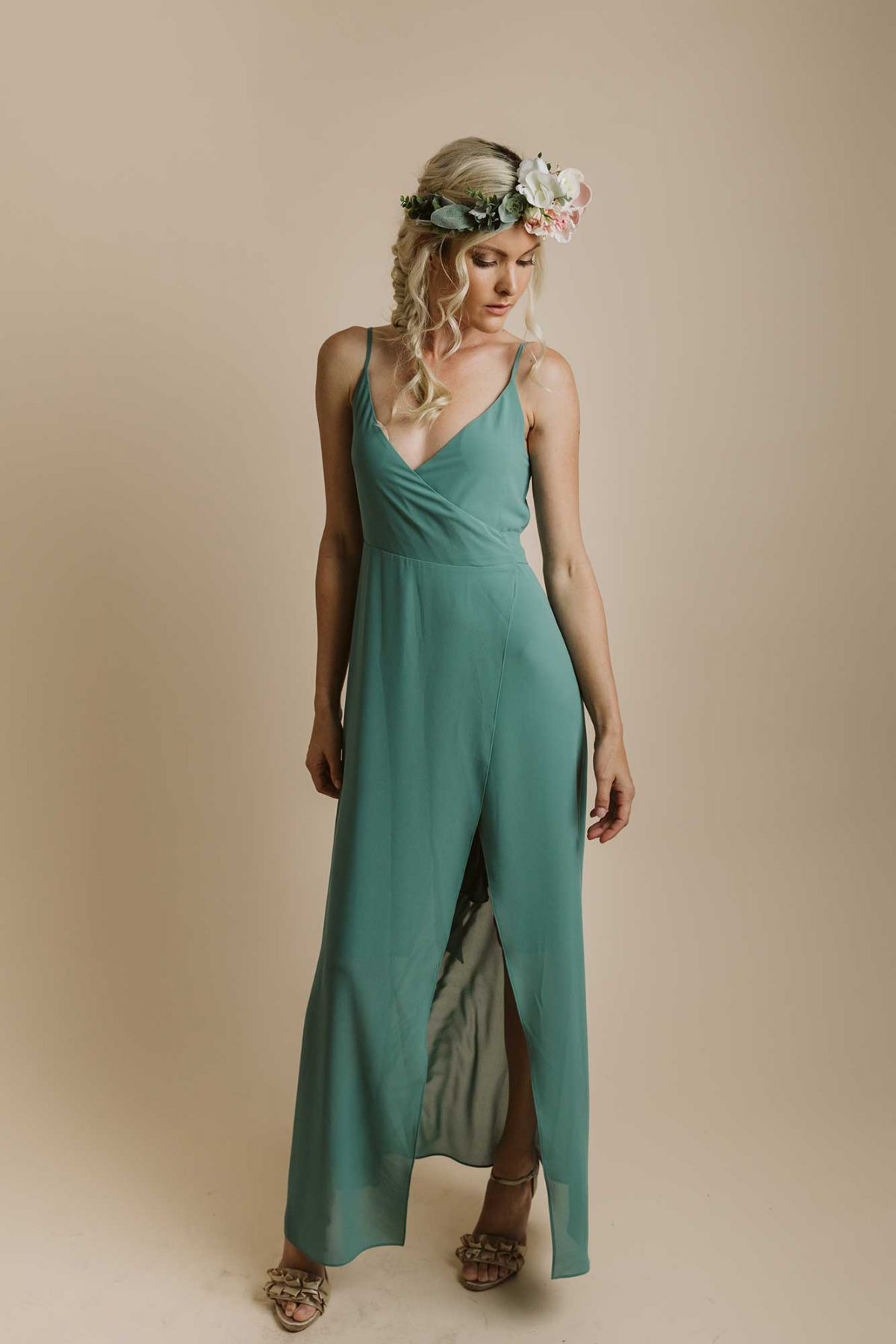 Lucinda dress in clover colour front view