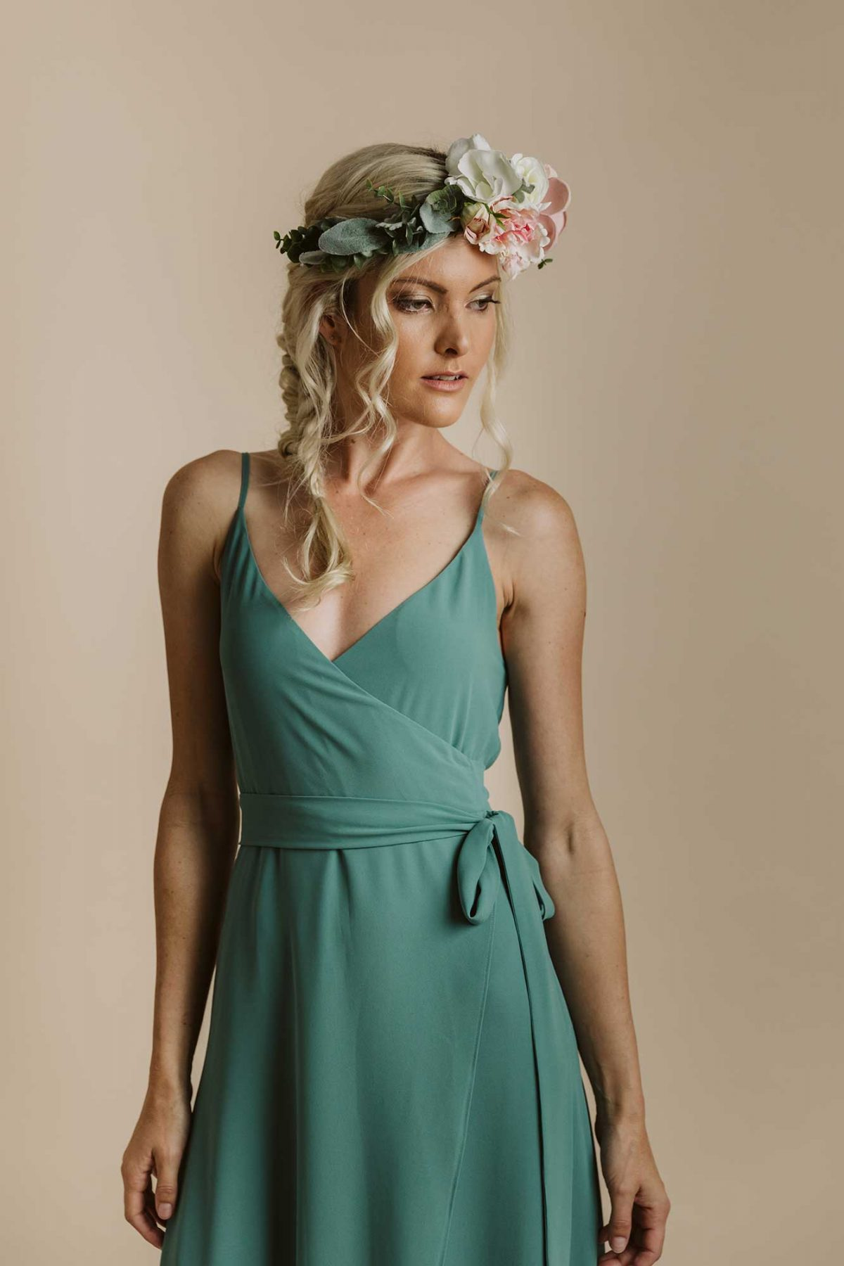 Lucinda dress in clover colour close view