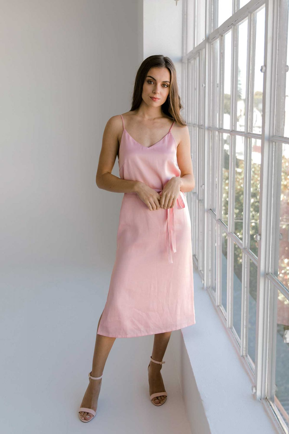 Nadia midi dress in baby blush colour front view