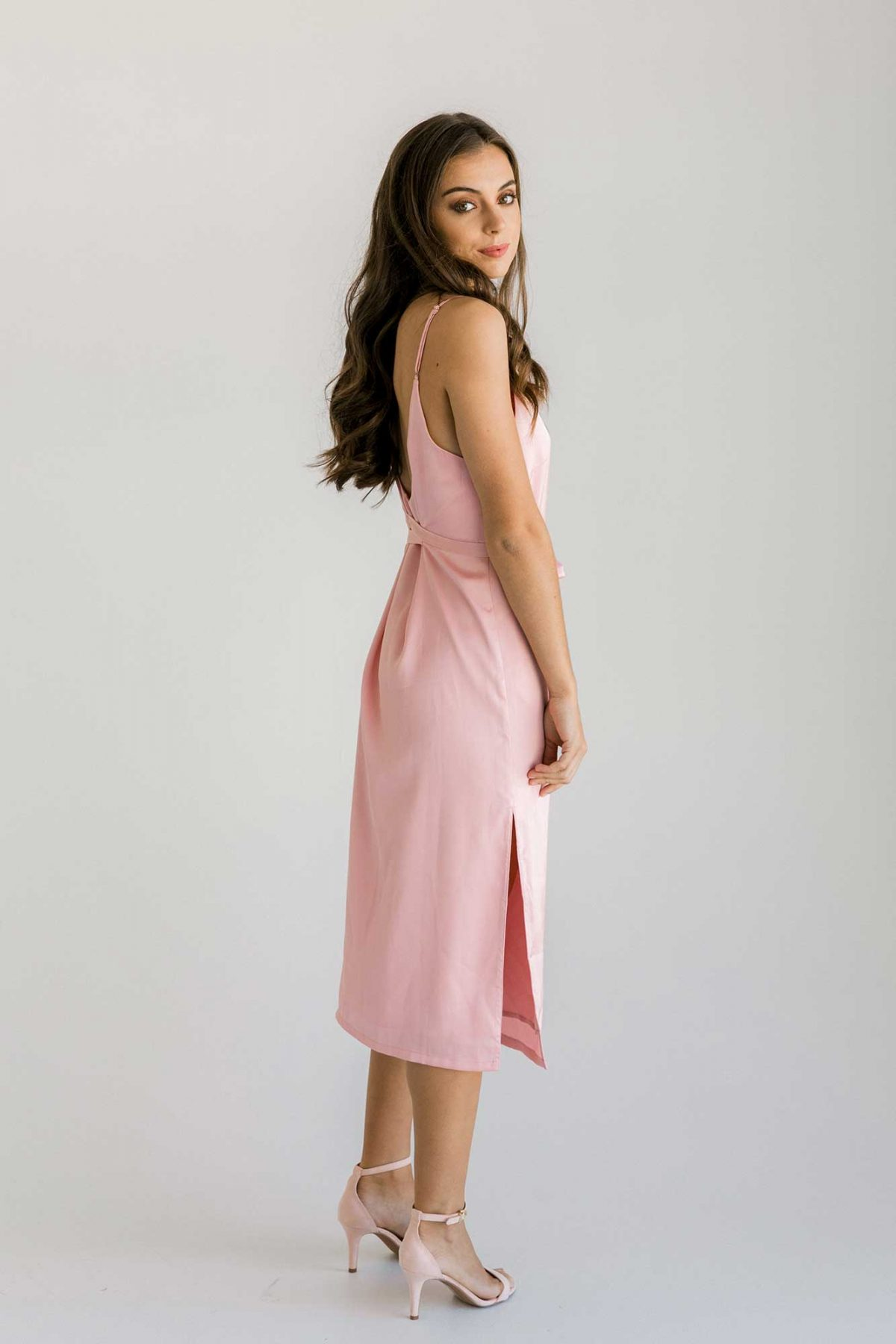 Nadia midi dress in baby blush colour side view