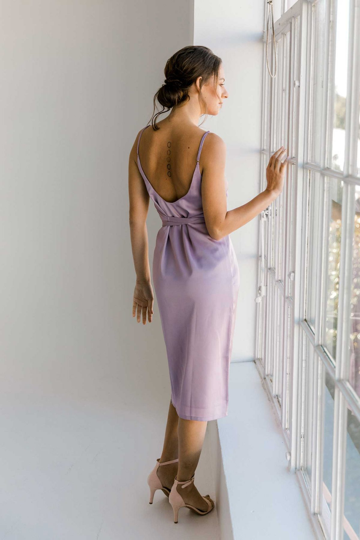 Nadia midi dress in lilac colour back view