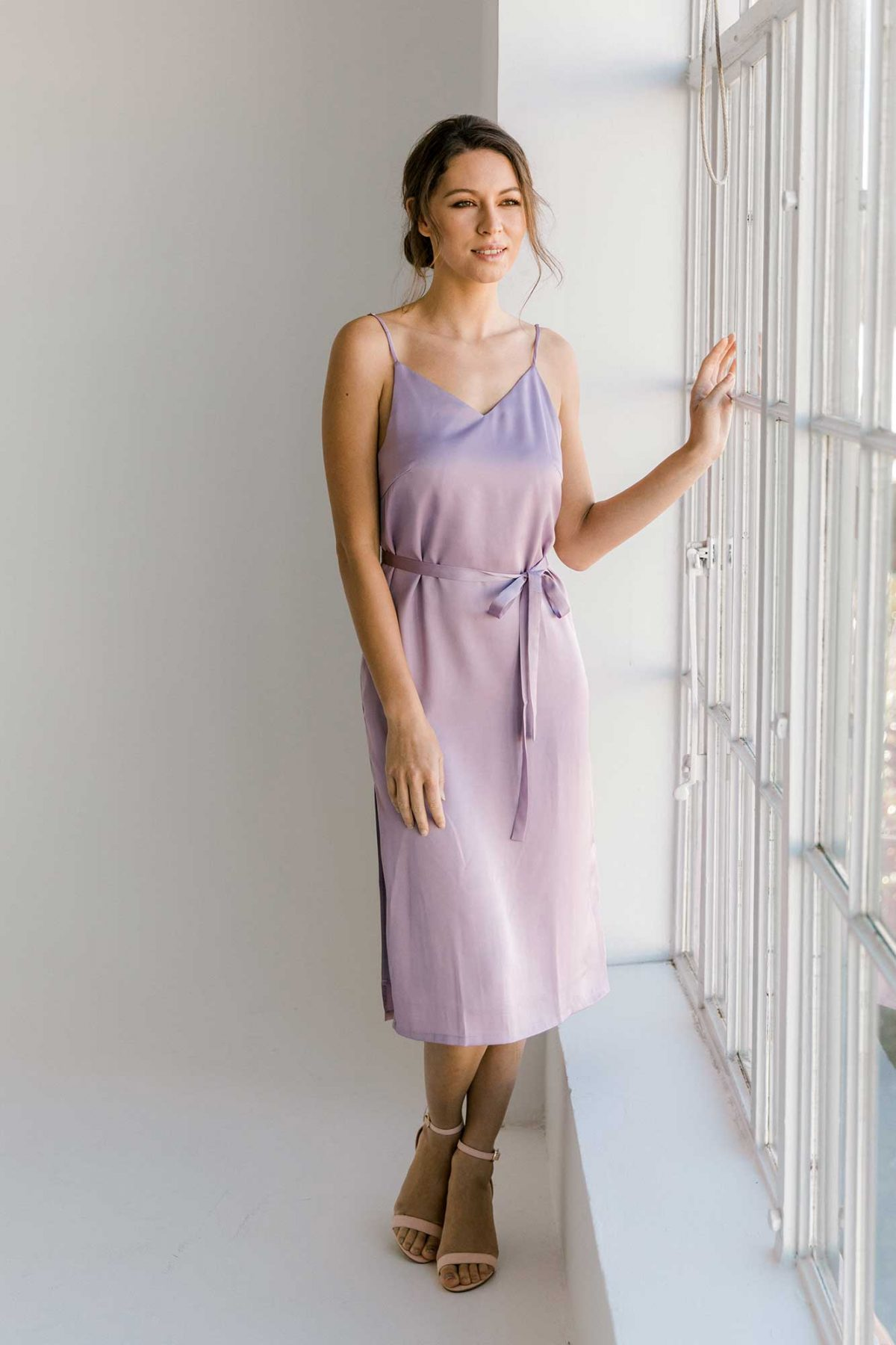 Nadia midi dress in lilac colour front view