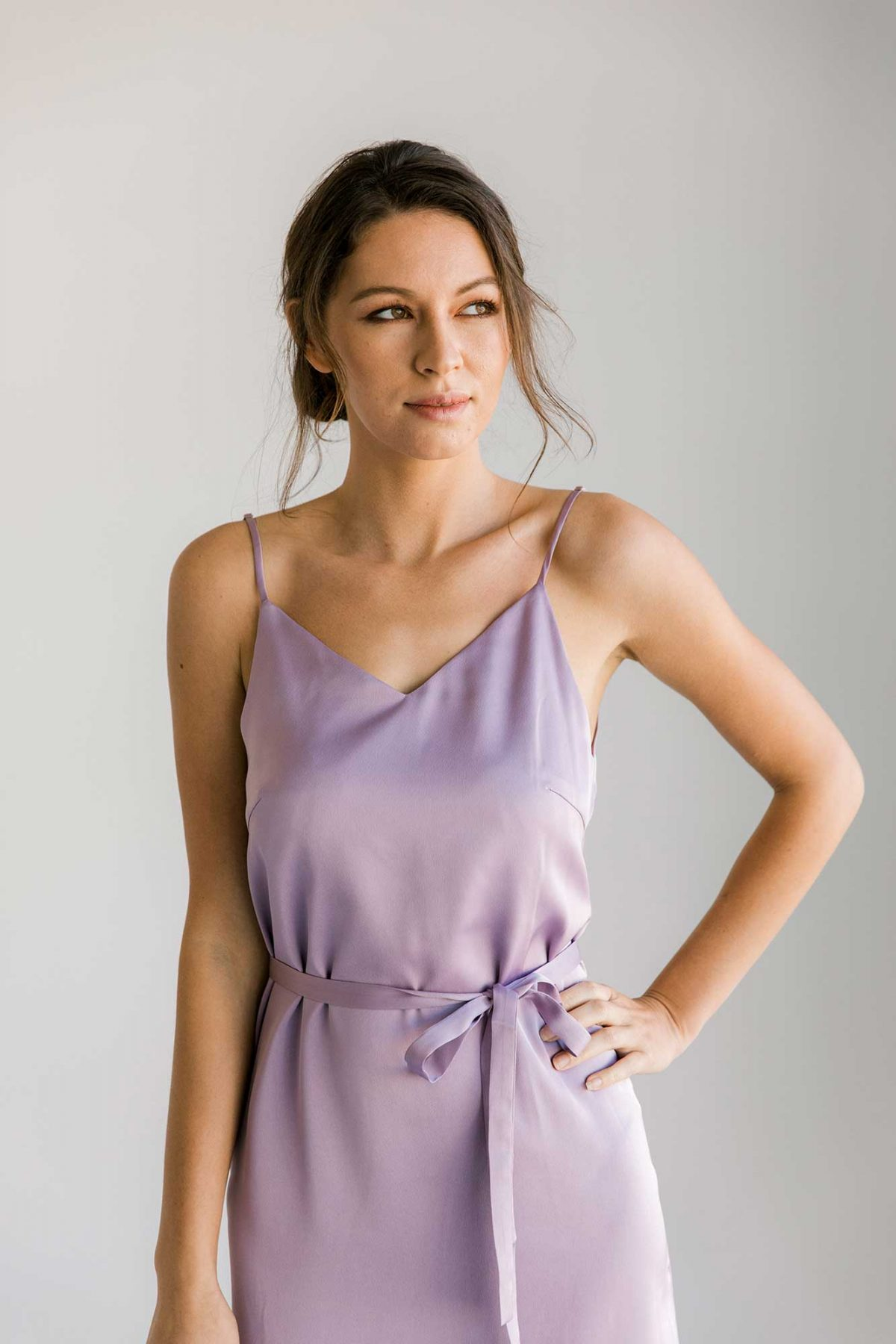 Nadia midi dress in lilac colour close front view