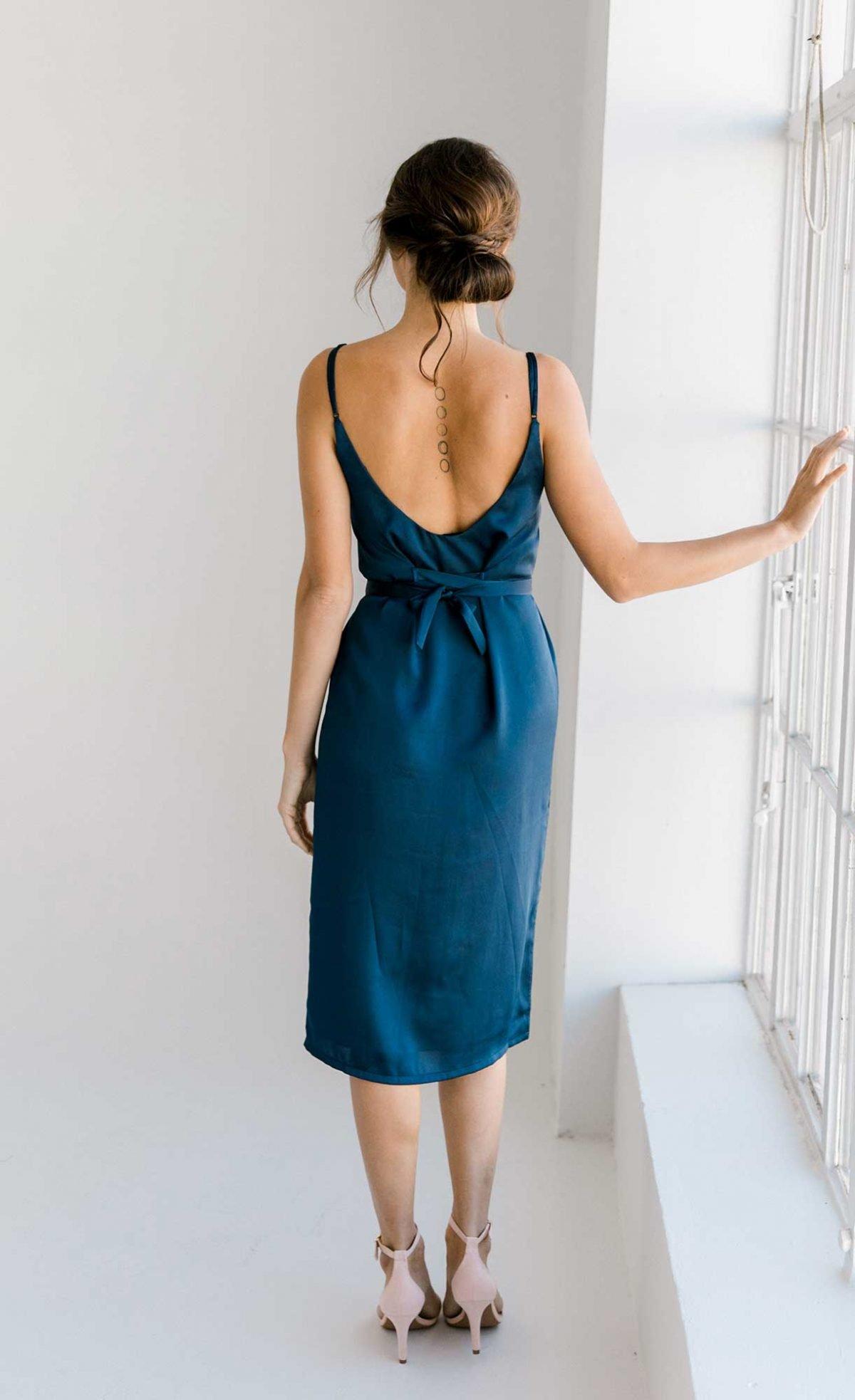 Nadia midi dress in navy colour back view