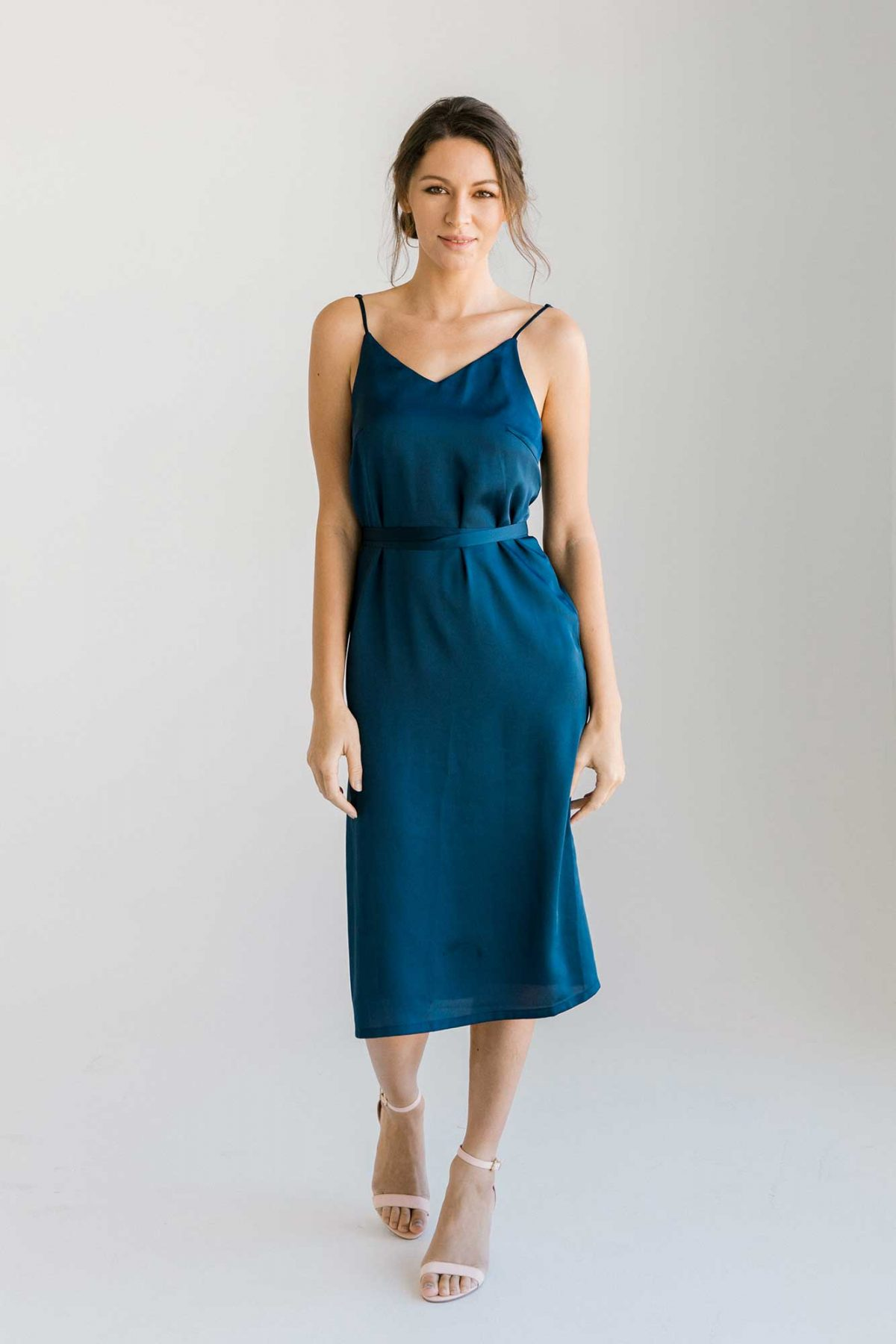 Nadia midi dress in navy colour front view
