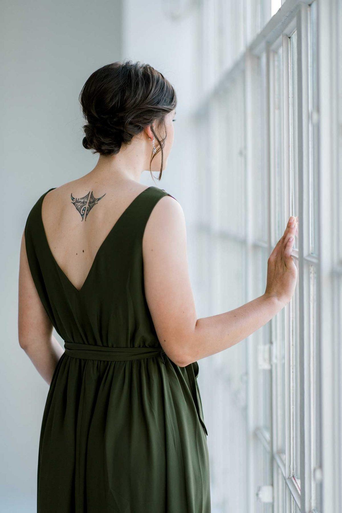 Sasha dress in olive colour back view