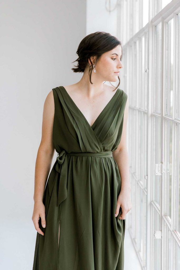 Sasha dress in olive colour front view