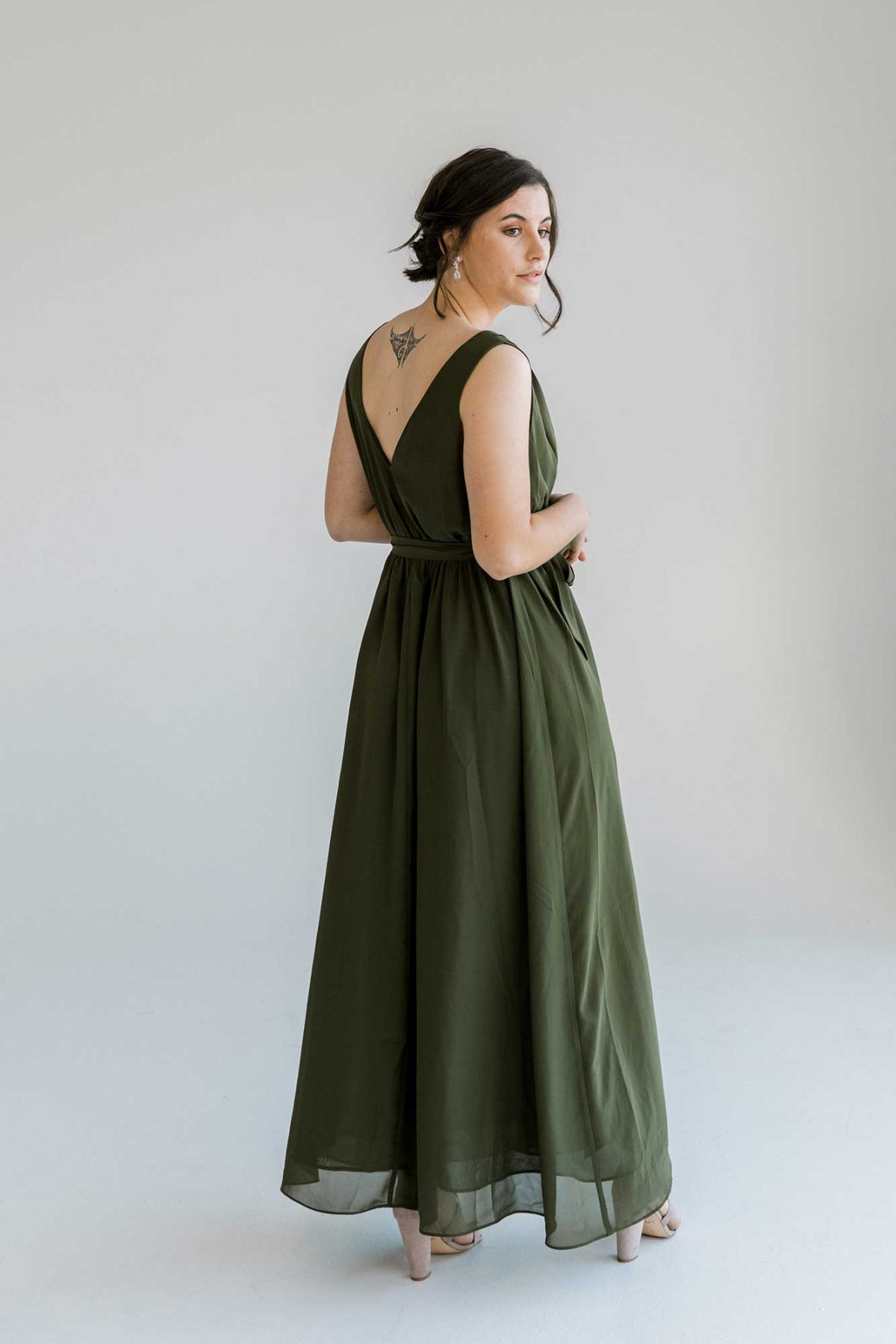 Sasha dress in olive colour side view