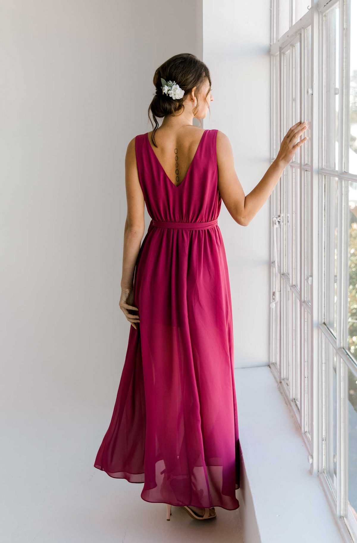 Sasha dress in raspberry colour back view