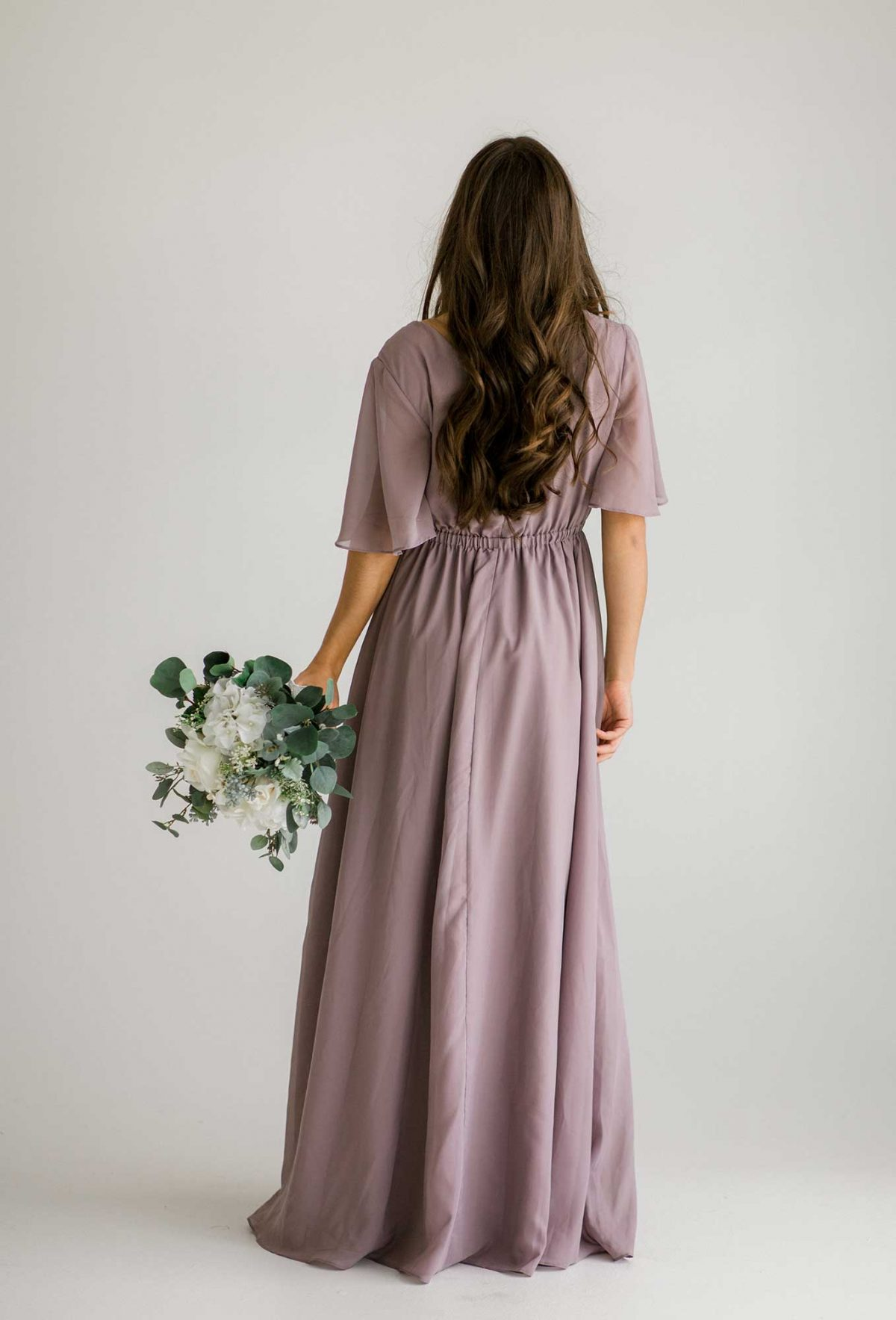 Tasha dress in dusty purple colour back view