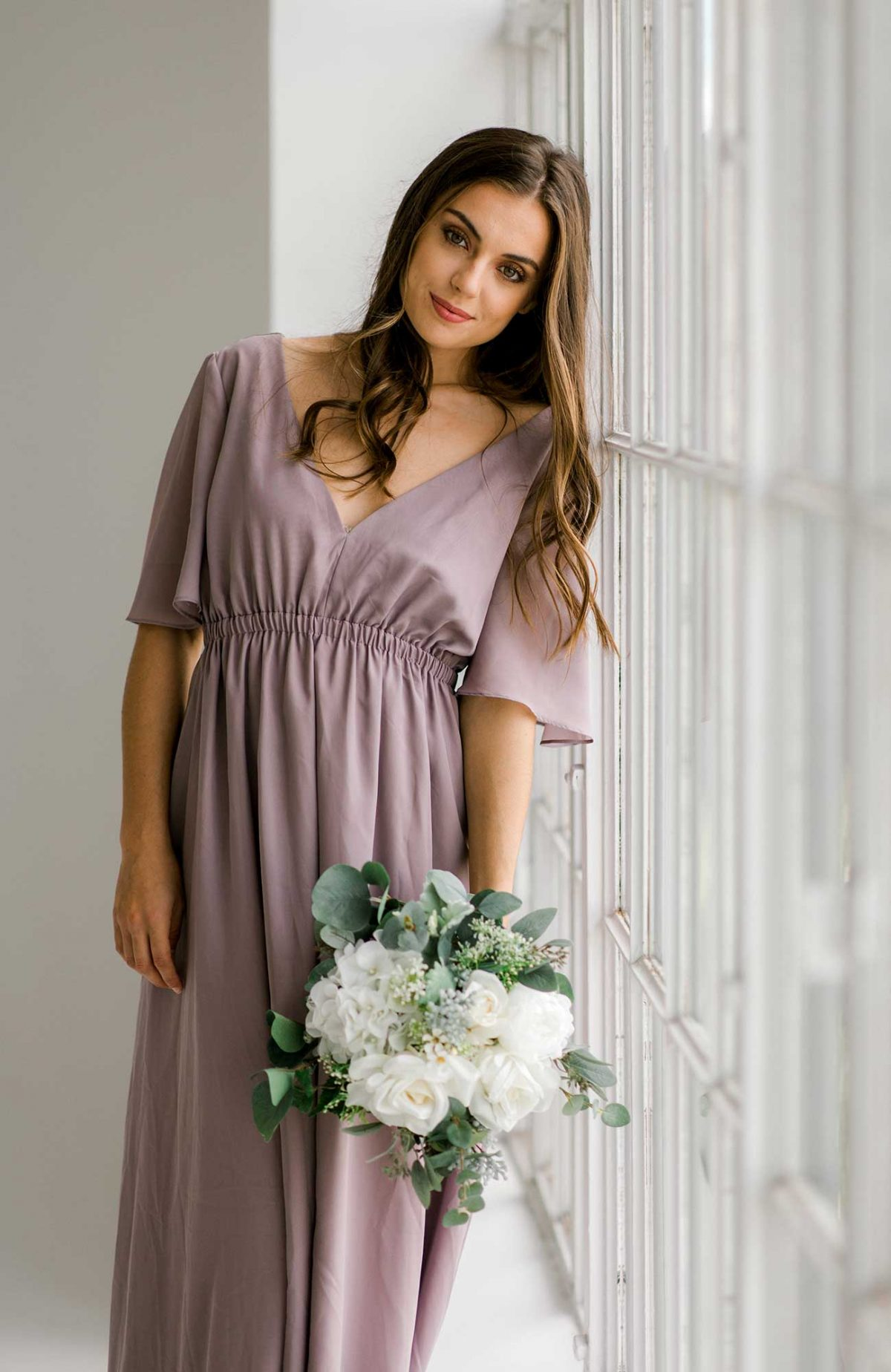 Tasha maxi dress in dusty purple colour front view