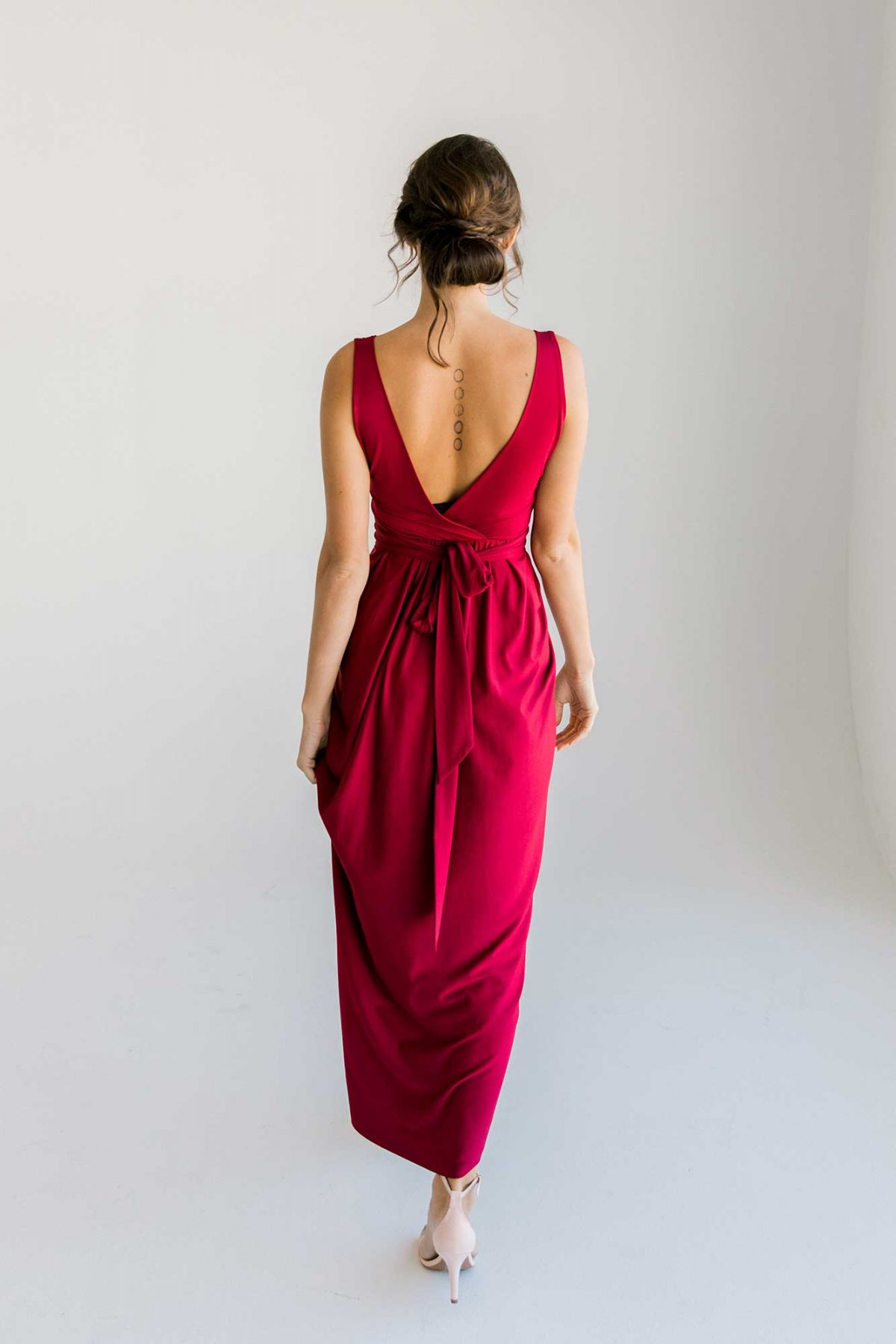 Zana dress in claret colour back view