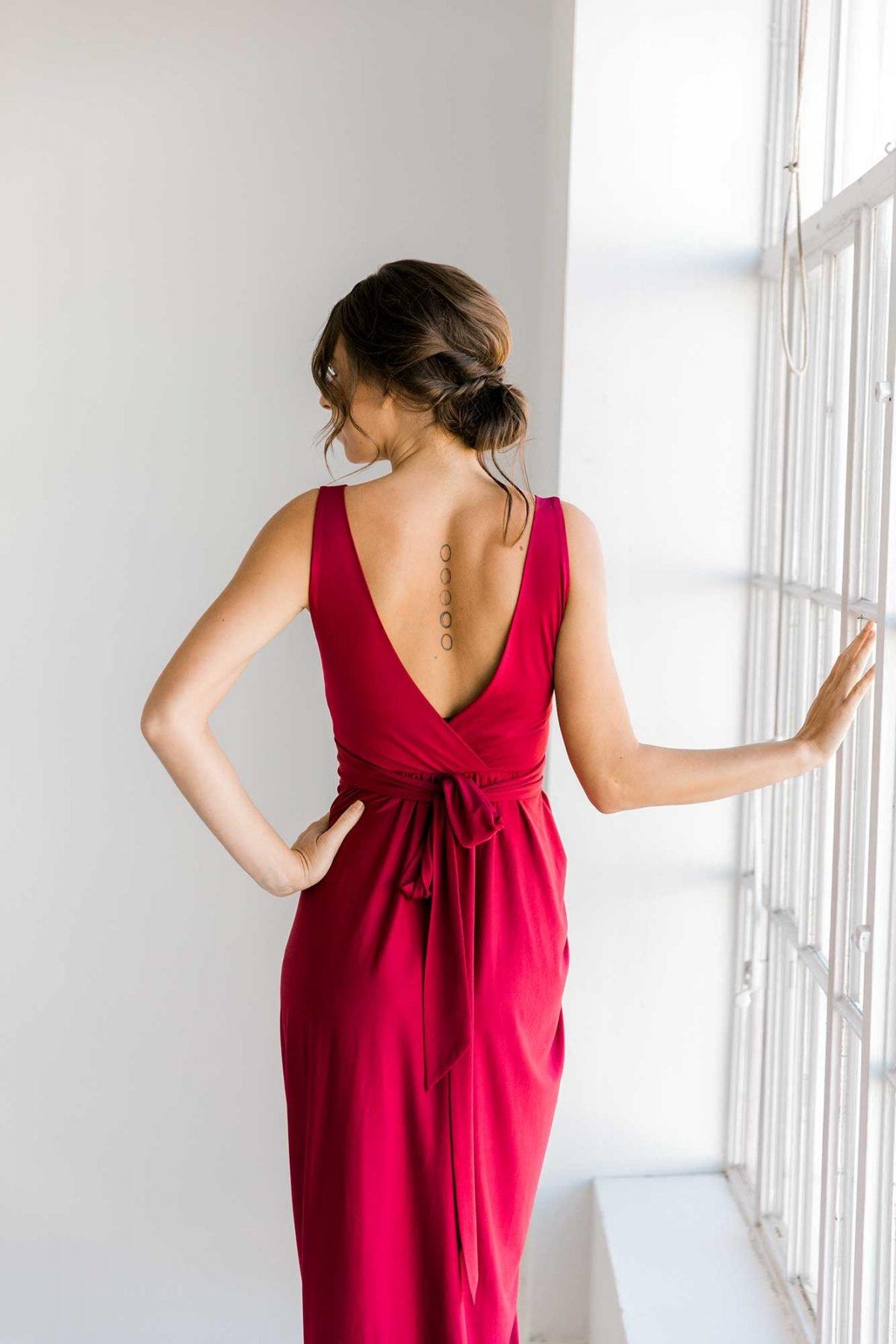Zana dress in claret colour close back view