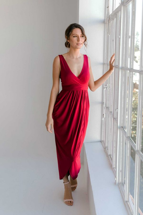 Zana high-low dress in claret colour front view