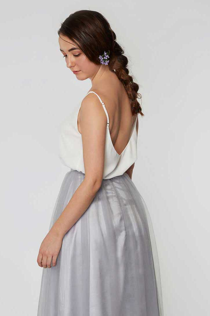 Petra chiffon top in pearl white colour back view
