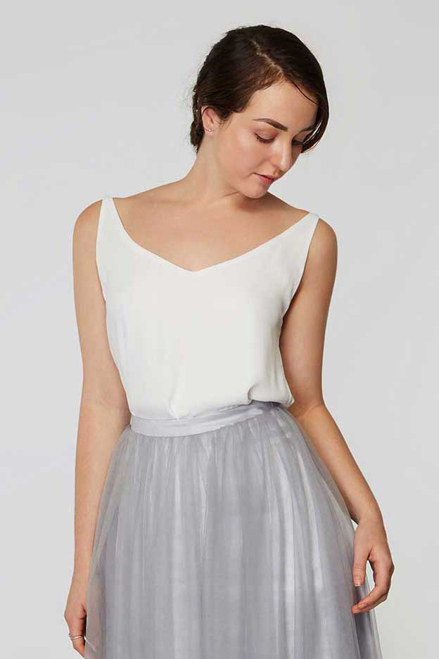 Petra chiffon top in pearl white colour front view