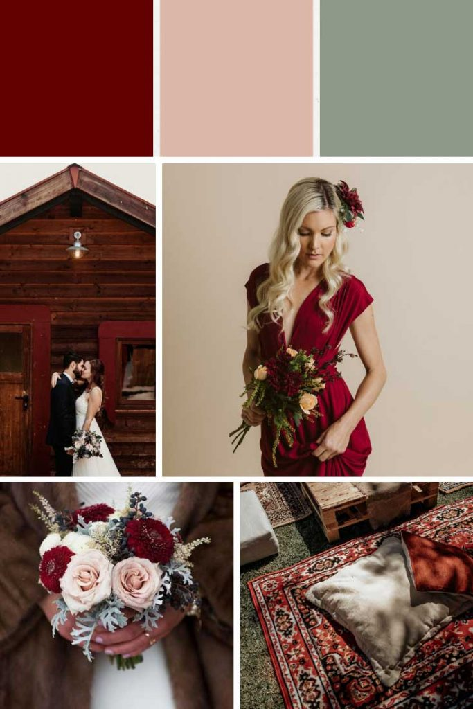Dark red and light pink winter wedding colour palette collage