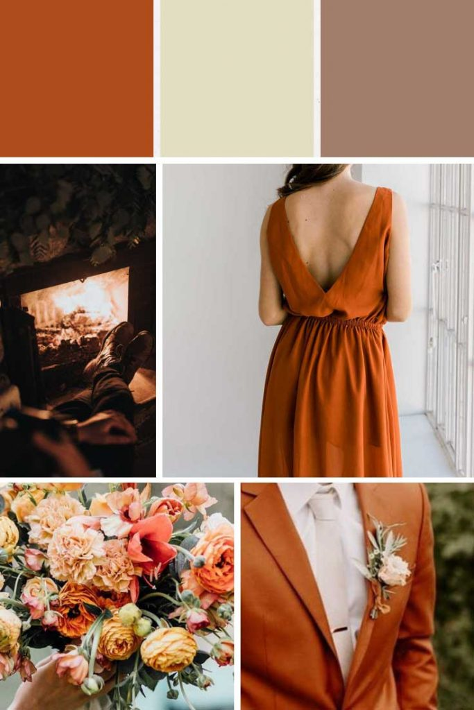 Burnt orange and mocha brown winter wedding colour palette collage