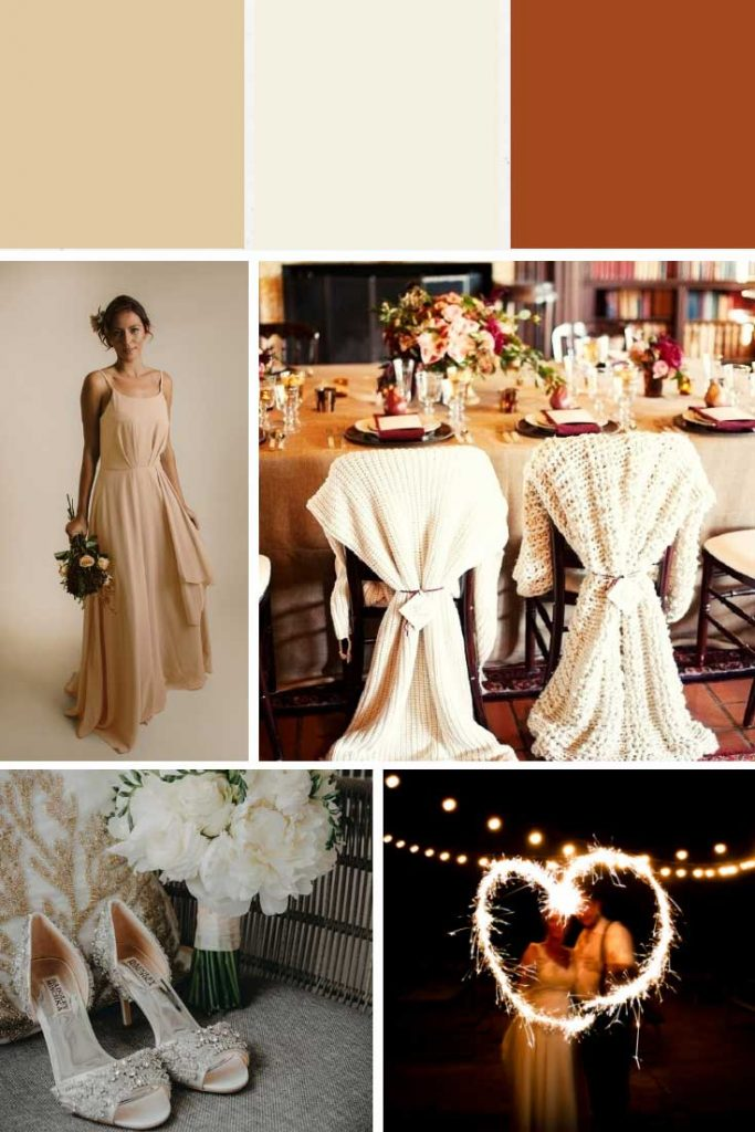 Champagne and cream winter wedding colour palette collage