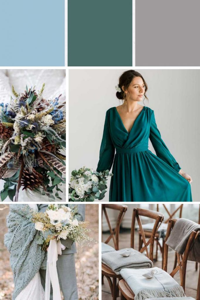 Teal grey and turquoise winter wedding colour palette collage