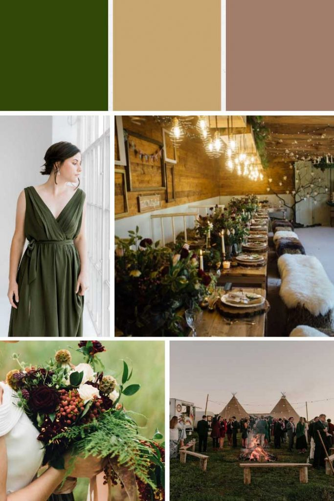 Earthy green and taupe winter wedding colour palette collage