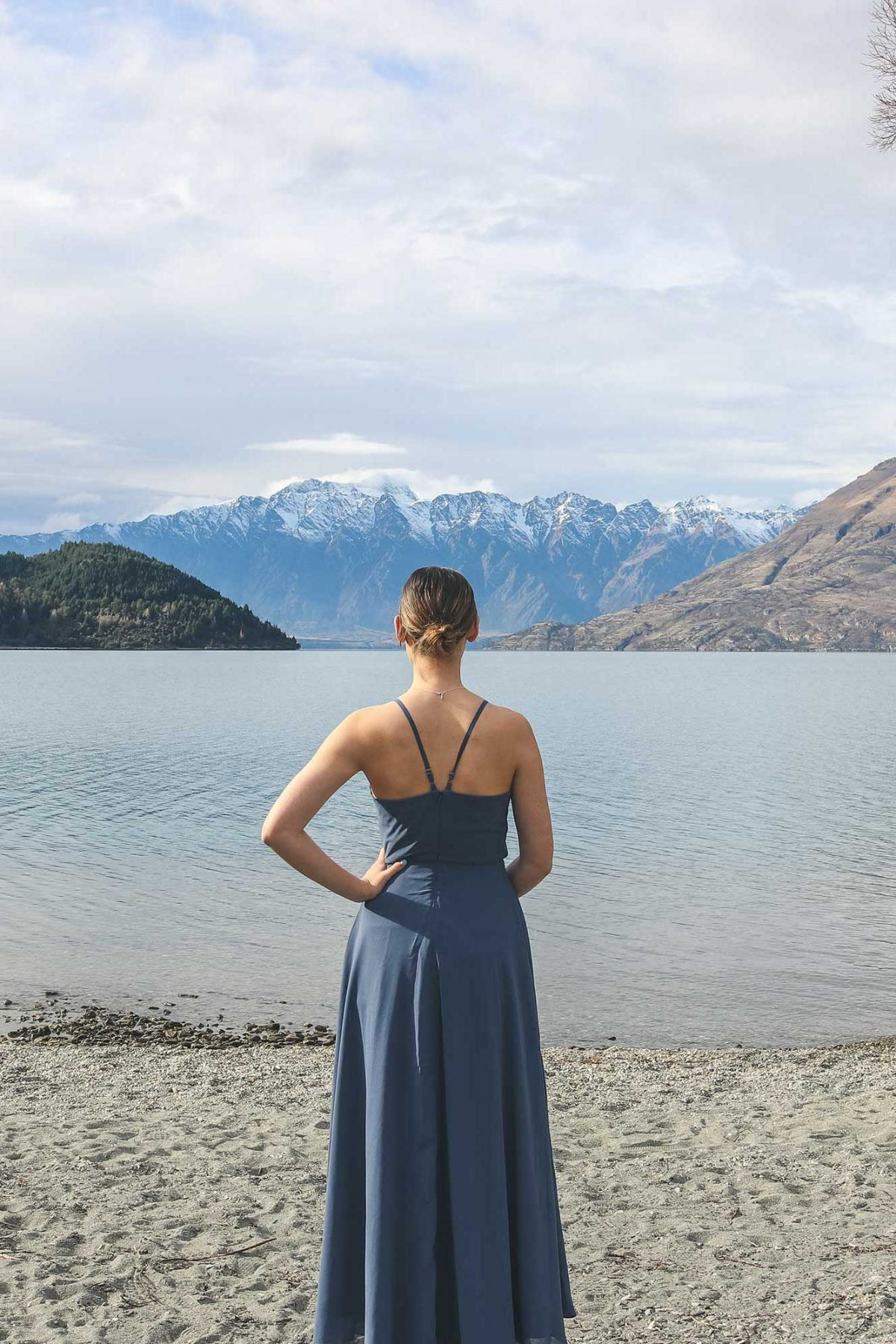 Facing a mountain view in Annabelle dress