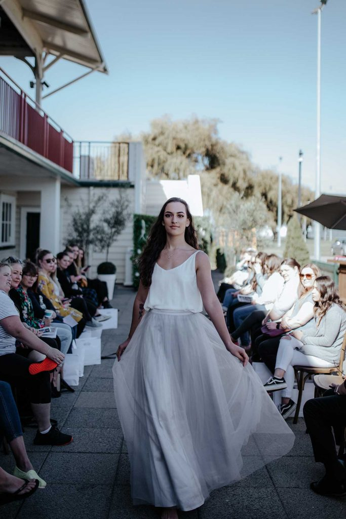 Runway show of Fleur skirt in dove